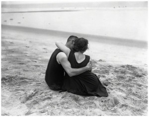 Couple embracing on beach. 1920′s.jpg
