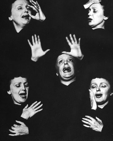 Allan Grant. Edith Piaf. Montage of expressions. 1952